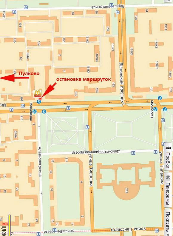 Карта, на которой обозначено место остановок маршруток к аэропорту Пулково (метро Московская)
