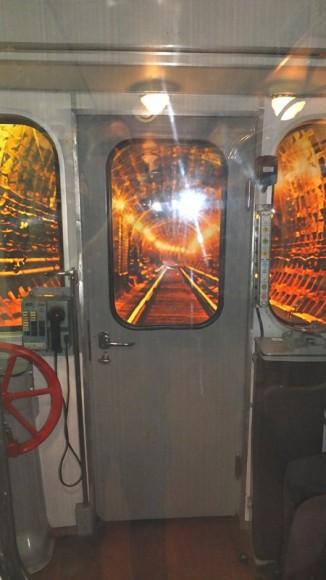кабина машиниста в музее метро