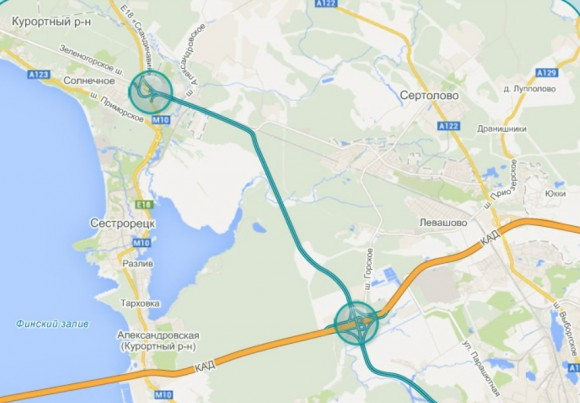 Западный скоростной диаметр соединяет КАД с трассой Скандинавия