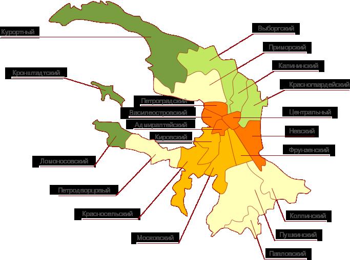 Карта районов Петербурга