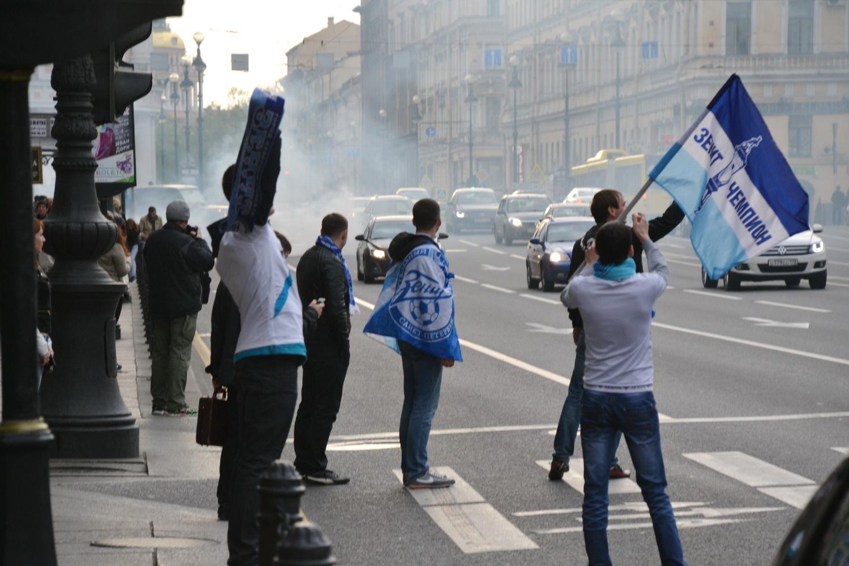 Фанаты Зенита в центре города