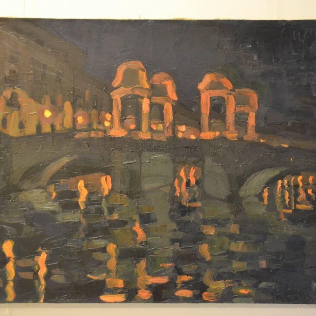 Мост Ломоносова ночью