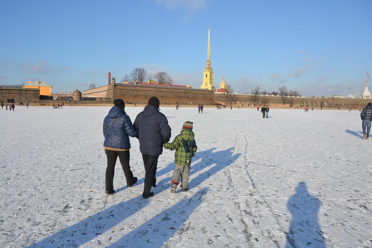 Прогулка по замерзшей Неве