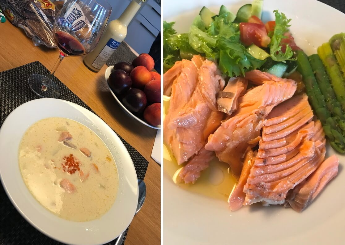 Суп и лосось