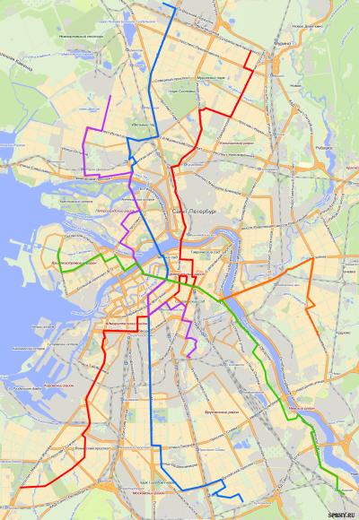 карта маршрутов ночных автобусов СПб