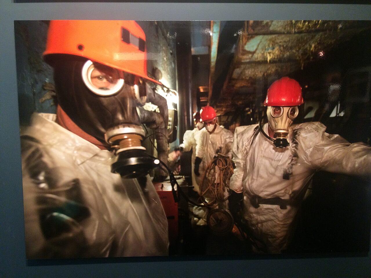 Рабочие на Чернобыльской АЭС