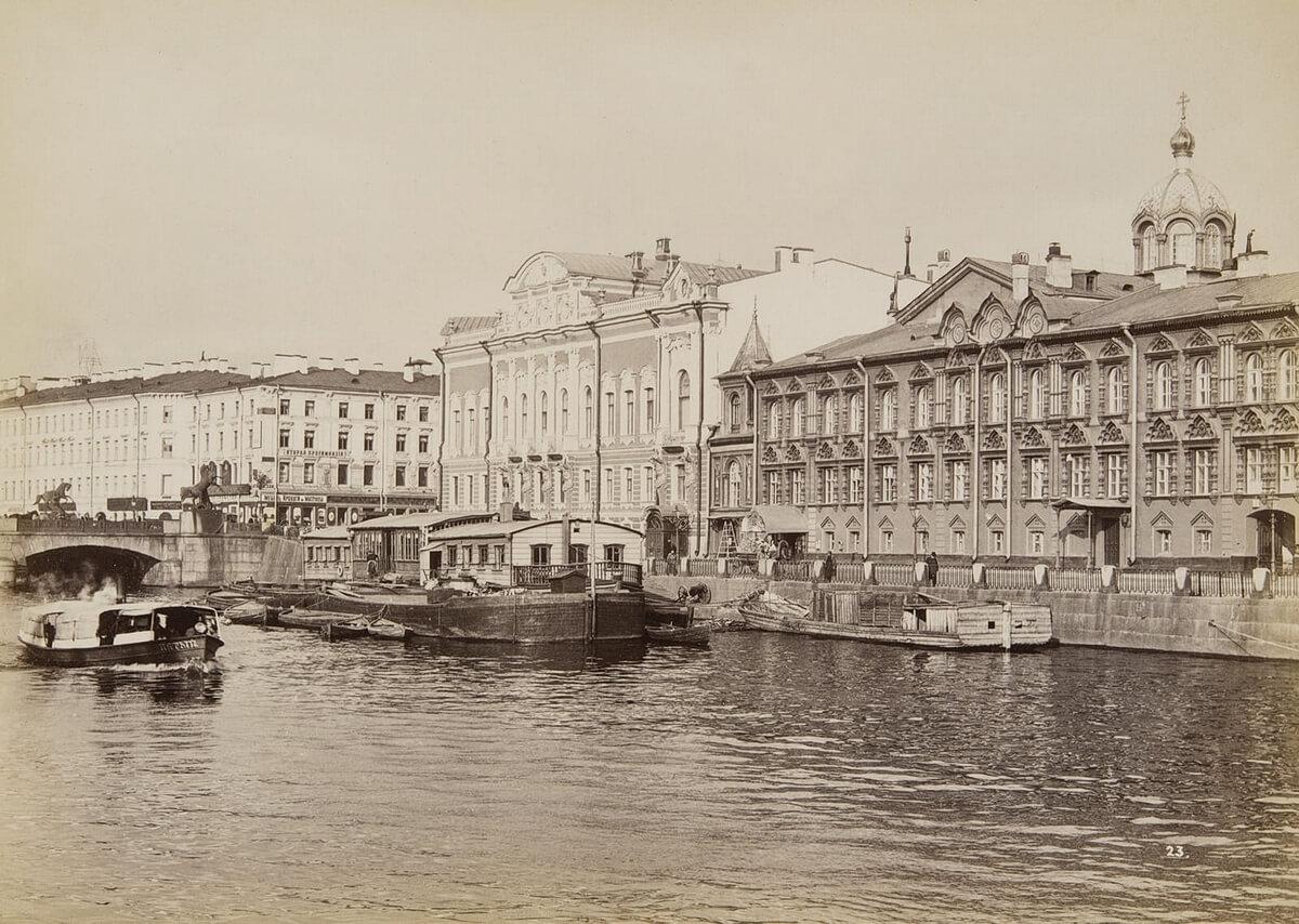 Набережная реки Фонтанки. Ателье `Братья Де Жон`, издание А. Фельтена. 1880–90-е